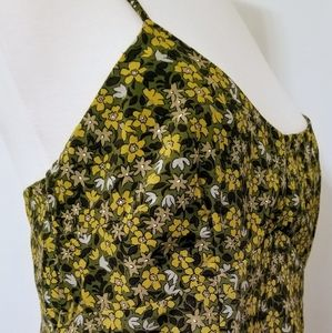 Express 9/10 Green Floral Spag Strap Sun Dress